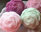 CAMELLIA FLOWER SOAP, Camelia Soap Set, Set of 2 Flower Soap, For Mom, Mother's Day, Hostess Gift, Custom Scented, Handmade, Vegetable Based