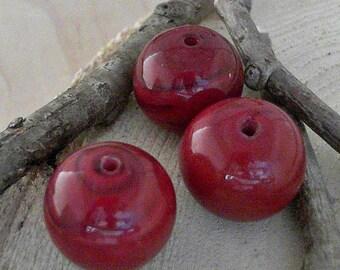 Brown 18mm Round Handmade Lampwork Beads                    CC-80250-5