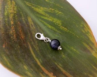 Dark blue SANDSTONE gemstone sterling silver clip on charm, fits link bracelet