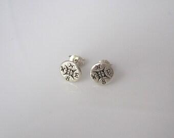 COMPASS sterling silver stud earrings