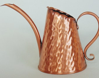 Solid Copper Pitcher Vase Pen Stuff Holder With Curved Spout & Handle