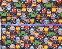 Springs Creative Marvel Kawaii - Baby Superheroes - Iron Man, Captain America, Hulk, Thor, Hawkeye, Spiderman- Cotton fabric BTY