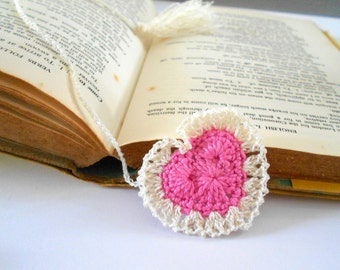 Heart Bookmark crochet cotton yarn 30 cm long PINK Ivory tassel