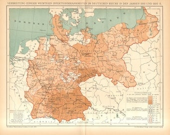 1895 Disease Distribution Map of the German Empire, Cholera infantum, Diphtheria, Scarlet Fever in 1892 and 1893