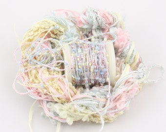 Pale Pink Baby Blue lemon Beaded yarn Silk Embroidery thread Weaving Supplies Hand dyed Sewing quilting thread sequin thread Embellishments