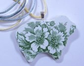 Green Sheep Pendant Broken China Floral Sterling Silver Plate Bail with Satin Cord #480