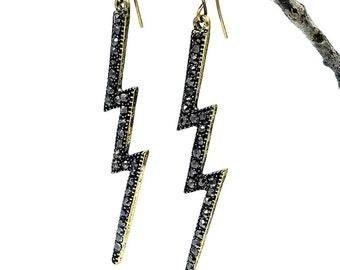Lightening Earrings || Dangle || Bronze and Rhinestones || Long Earrings || Bolt of Energy