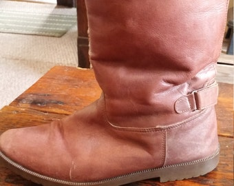 SALE - Brown Leather Boots with Buckle - Women's Size 11 (smaller fit)