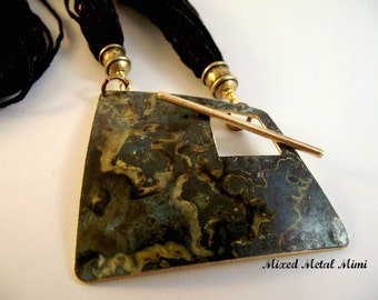 Verdigris Pendant Necklace Silk Linen Cord Copper Gold Brass Blue Green Black Handcrafted Mixed Metal Mimi One of a Kind -N-012