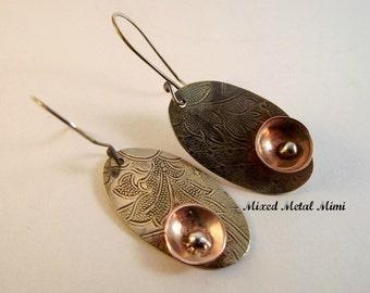 Silver Oval Earrings Copper Flowers Vintage Silver Earrings Flowers Sterling Silver Copper Bowls Earrings Engraved Silver Antique -E-744