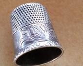 Vintage sterling silver thimble #10 flower design lovely