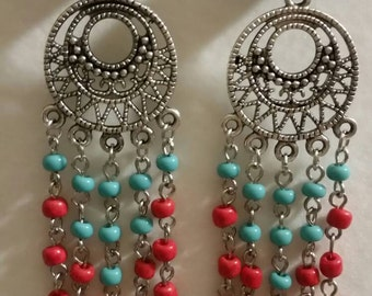 Turqoise , Red and silver earrings