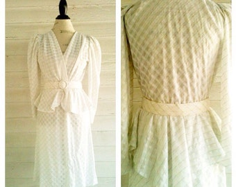 Vintage White 80s SECRETARY Dress with Peplum and Belt