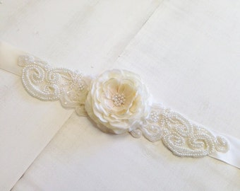 Ivory Pearl Bridal or Maternity Lace Floral Rosette Sash