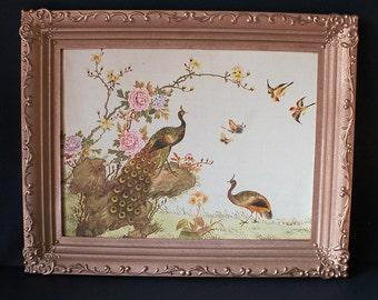 Vintage 1964 Oriental Canvas Painting Royal Peacocks