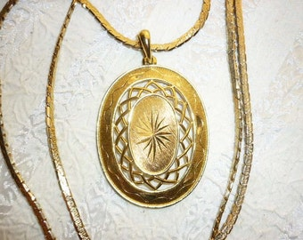 Vintage Gold Art Pendant with long Gold snake chain Necklace