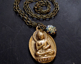 Buddha Necklace Ohm Necklace Buddha Charm Necklace Meditating Buddha Nepal Buddha Long Necklace Men's Necklace Yoga Necklace Calming