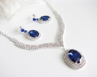 Deep Sapphire 2 piece set Wedding Necklace Bridal Necklace - Bridal Jewelry - Wedding Necklace - bridal set- Backdrop Bridal Necklace