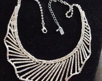 """Rhinestone Necklace Bib Necklace Vintage Rhinestone necklace 1980 stunning 16"""" length"""
