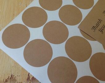 "200 Kraft Stickers 2"" circles, stickers, eco-friendly stickers, 2 in.  round stickers, grocery bag stickers (10 sheets)"