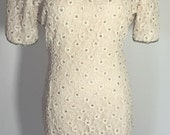 Gorgeous Ivory Pearl Beaded Lace Designer Floral Dress