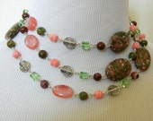Pink Fields - Pink & Green Necklace and Earring Set