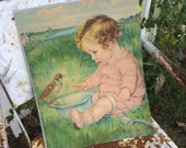 This Toddler & Baby Bird Share A Bowl Antique Large Paper Print