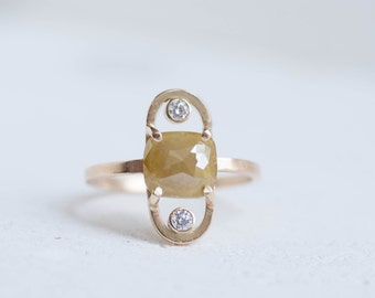 Rose Cut Cushion Yellow Diamond Double Arc Ring | Diamond Accent | 14k Recycled Gold | Engagement Ring | Limited Edition