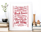 No Place Like Home, Wizard of Oz quote poster, Chatty Nora screen print, Wall print, Black and white art, Typography art