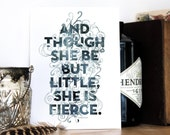Little But Fierce Print, Shakespeare Quote, Typography print, A Midsummer Night's Dream, Black and White art, Chatty Nora, 6x8 print