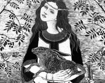 St.Melangell - Safe in her arms -  Blank Art card from Scraperboard