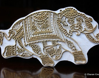Handmade Indian Wood and Brass Textile Stamp- Large Elephant