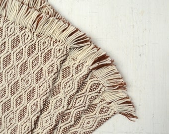 Woven Southwest Placemats Thick Fringe Brown Cream 1970s Vintage Placemat Set of 4
