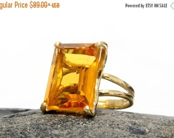 SUMMER SALE - Gold ring,Citrine ring,November birthstone ring,rectangle cocktail ring,gold statement ring,promise ring