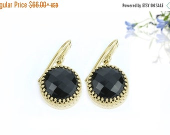 SUMMER SALE - Black onyx earrings,dangle earrings,gold earrings,gemstone earrings,french hook earrings,round earrings,stone earrings
