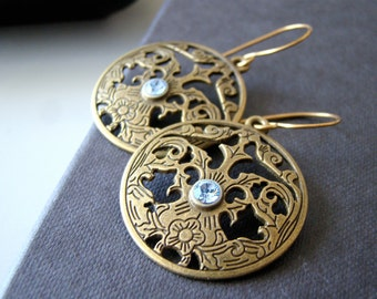 Bronze Lace ,  antique bronze tone dangling earrings with brass ear wires and swarovsky crystals.