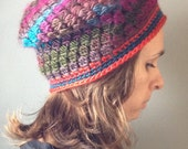 Ready to Ship The North Country Chunky Knit Puff Slouchy Hat Women Crochet Handmade Button Men