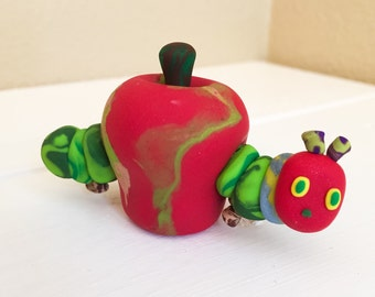 Custom Made Very Hungry Caterpillar Smash Cake Topper in Apple - Polymer Clay