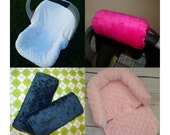 Carseat Canopy Cover Set..Minky Insert Liner, Head Support, Arm Cushion, Strap Covers Choose your Minky Color