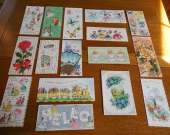 Darling Lot of 16-- Unused Vintage Greeting Cards Envelopes Adorable Girls