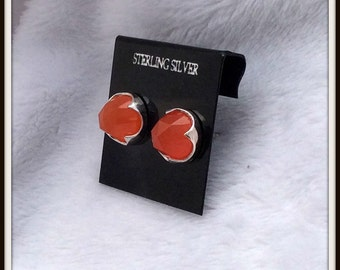 Sterling silver stud earrings Bright Carnelian Rose cut 8mm cabochon Post earrings Sterling silver bullet clutch