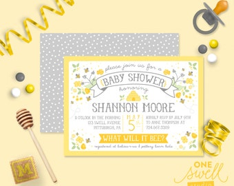 Bee Baby Shower Bumble Bee Honeybee  Hive - Baby - Bee Printable Gender Reveal, Baby Shower or Birthday Party Invitation