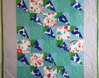 Modern blue, green and grey baby/toddler quilt