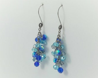Shades of blue crystal cluster earrings