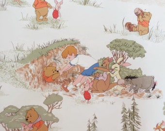 Vintage Winnie the Pooh Wallpaper, Nursery Decor Wallpaper, Children's Literature Characters Wallpaper, Paper Craft Supply, Disney