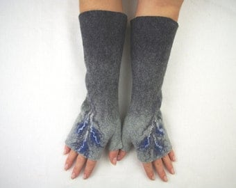 Long Felted Fingerless gloves Fingerless Mittens Arm warmers Gloves -Gray