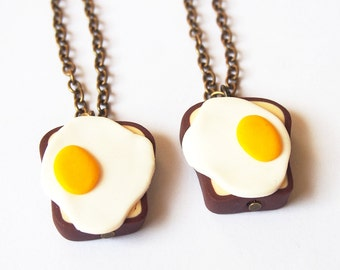 Best Friend Necklace ( toast necklace breakfast necklaces fried egg toast polymer clay brass necklaces 2 way necklaces best friends )