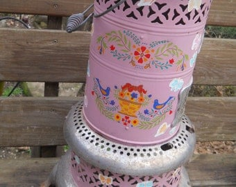 Vintage Antique Rare Perfection Kerosene Heater Model #530 Painted Pink with Folk Art Tole Painting--Plant Stand--decorative piece