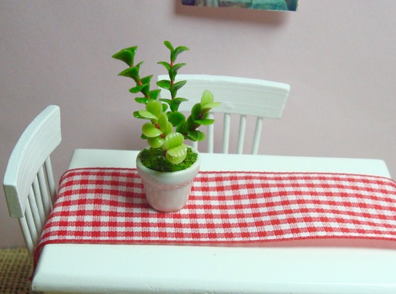 Succulent Money Leaves Potted Plant for Dollhouse 12th Scale