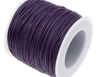 Waxed Cord : Royal Purple 1mm Waxed Cord String | Bracelet Cord | Macrame Cord | Chinese Knotting Cord [Choose 10 feet or 30 feet] 93233-11